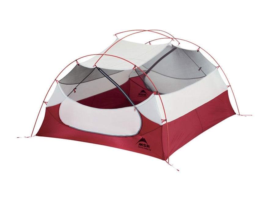"""MSR Mutha Hubba NX 3 Man Modified Dome Tent 84"""" x 68"""" x 44"""" Polyester Red and White"""