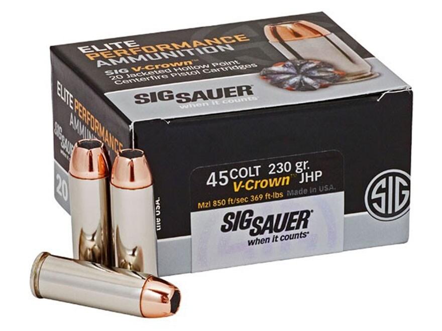 Sig Sauer Elite Performance Ammunition 45 Colt (Long Colt) 230 Grain V-Crown Jacketed H...