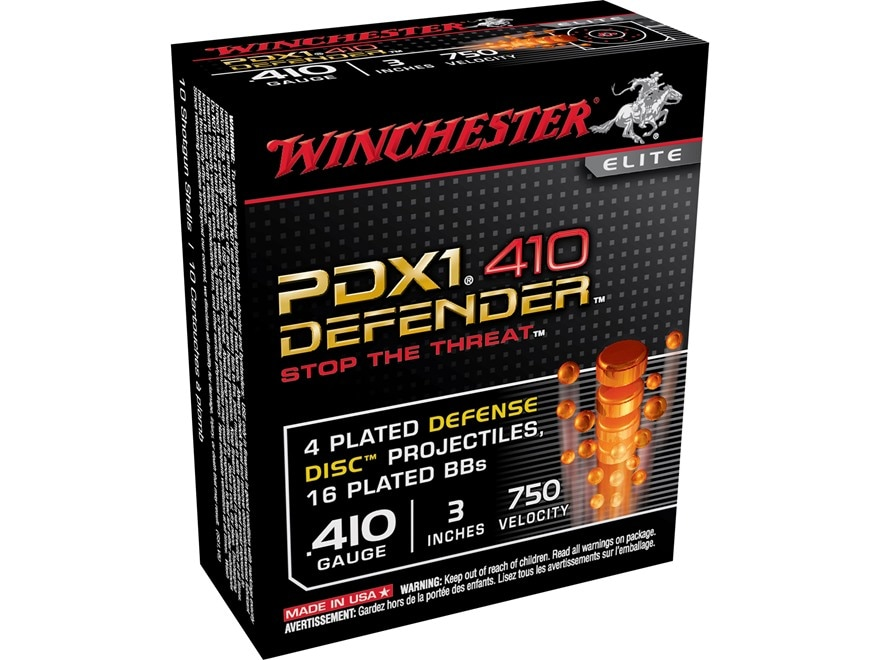 """Winchester PDX1 Defender Ammunition 410 Bore 3"""" 4 Disks over 1/3 oz BB Shot"""