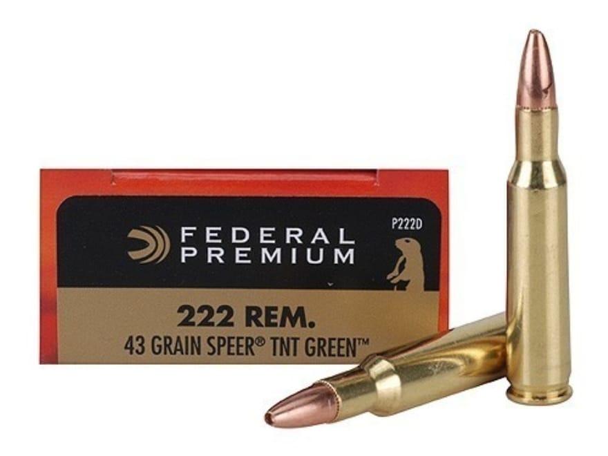 Federal Premium V-Shok Ammunition 222 Remington 43 Grain Speer TNT Green Hollow Point L...
