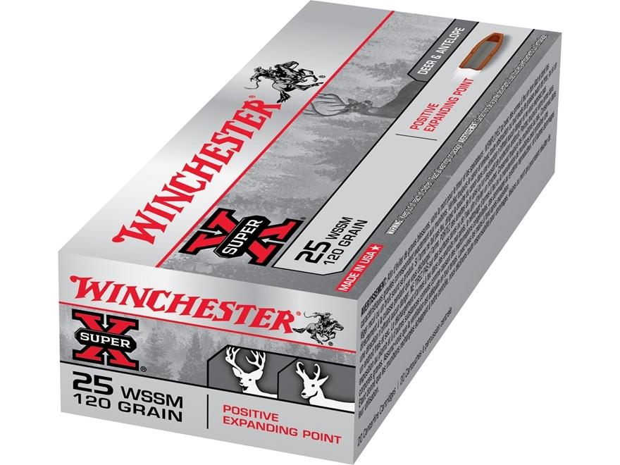 Winchester Super-X Ammunition 25 Winchester Super Short Magnum (WSSM) 120 Grain Positiv...