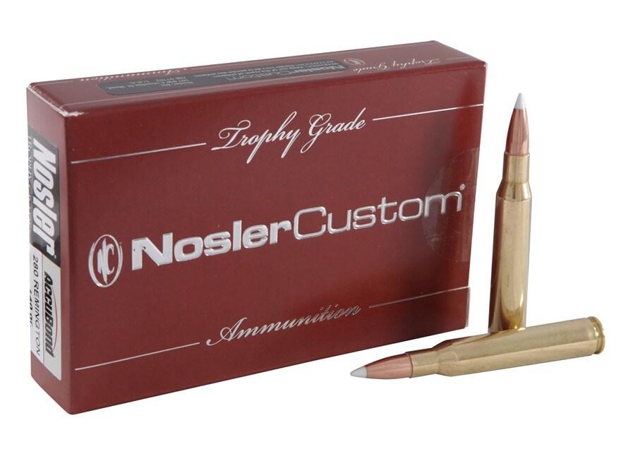 Nosler Trophy Grade Ammunition 280 Remington 140 Grain AccuBond Box of 20