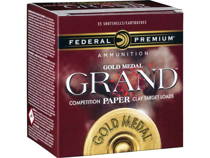 """Federal Premium Gold Medal Grand Paper Ammunition 12 Gauge 2-3/4"""" 1-1/8 oz #8 Shot 3 Dr..."""