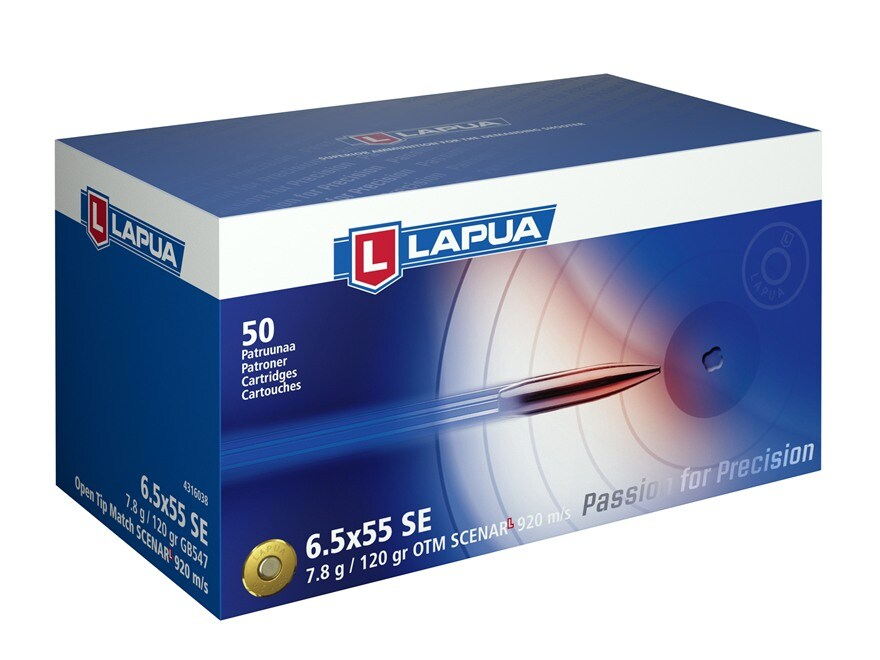 Lapua Scenar-L Ammunition 6.5x55mm Swedish Mauser 120 Grain Hollow Point Boat Tail Box ...