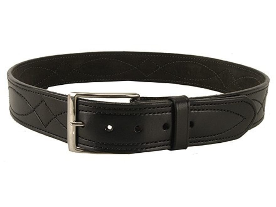 """DeSantis Fancy Stitch Holster Belt 1-3/4"""" Nickel Plated Brass Buckle Suede Lined Leather"""