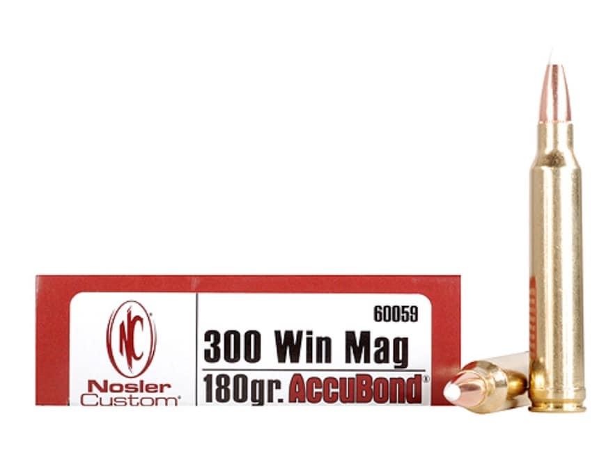 Nosler Trophy Grade Ammunition 300 Winchester Magnum 180 Grain AccuBond Box of 20