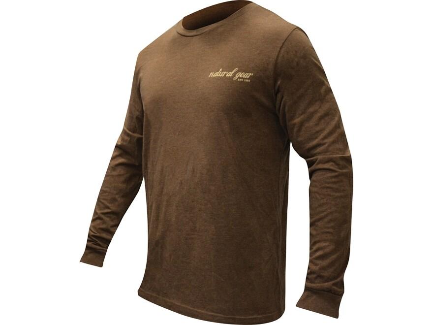 Natural Gear Men's Duck Logo T-Shirt Long Sleeve Tri-Blend Brown