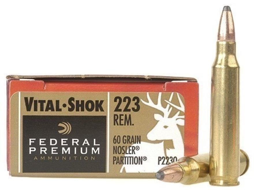 Federal Premium Vital-Shok Ammunition 223 Remington 60 Grain Nosler Partition