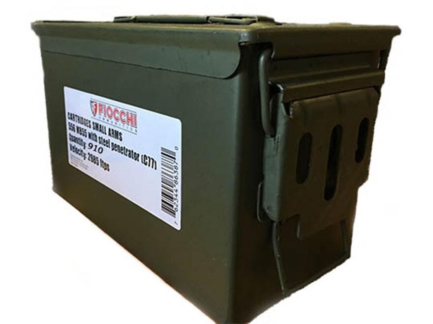 Fiocchi Ammunition 5.56x45mm NATO 62 Grain M855 SS109 Penetrator Full Metal Jacket 10 R...