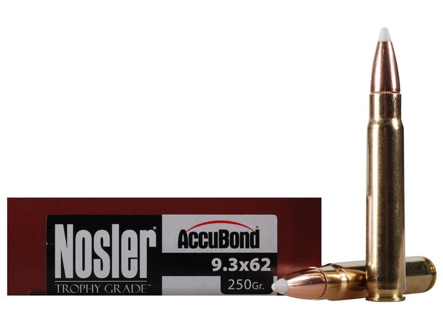 Nosler Trophy Grade Ammunition 9.3x62mm Mauser 250 Grain AccuBond Box of 20