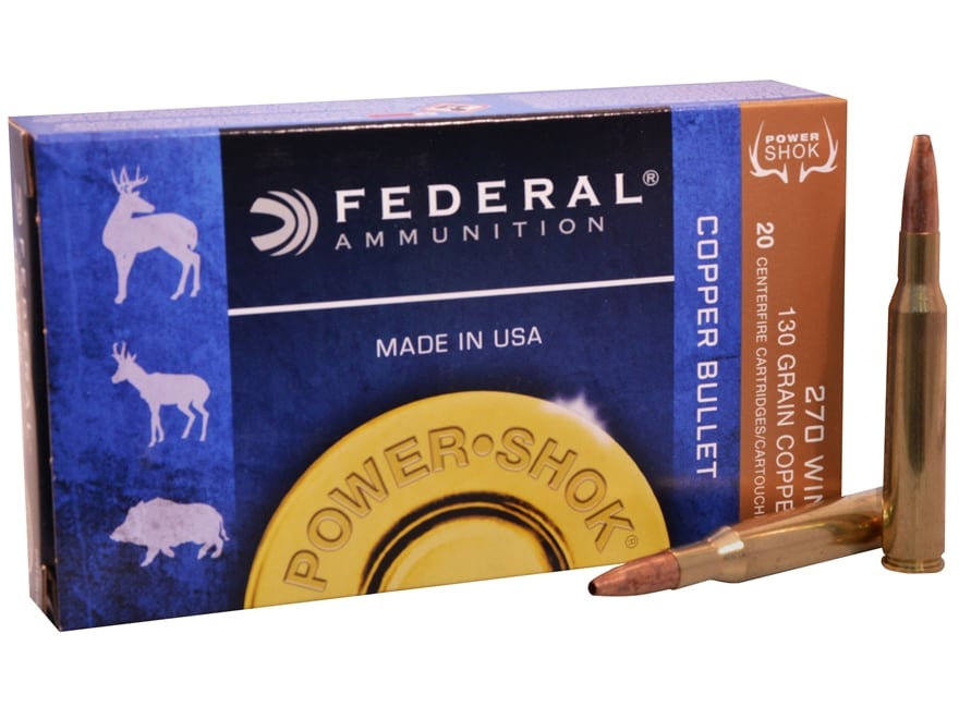 Federal Power-Shok Ammunition 270 Winchester 130 Grain Copper Hollow Point Lead-Free Bo...