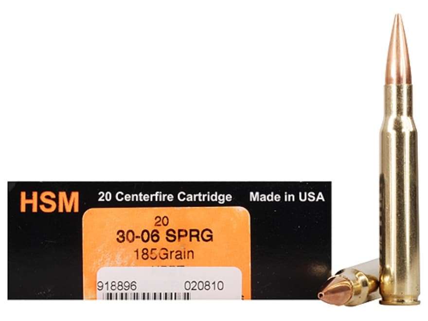 HSM Trophy Gold Ammunition 30-06 Springfield 185 Grain Berger Hunting VLD Hollow Point ...