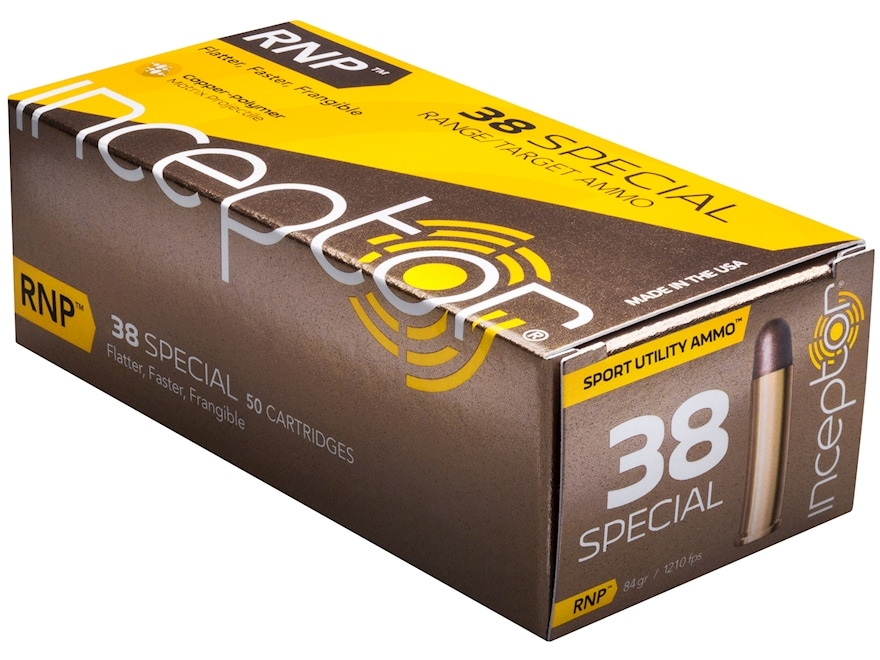Inceptor Sport Utility Ammunition 38 Special 84 Grain RNP Frangible Lead-Free Box of 50