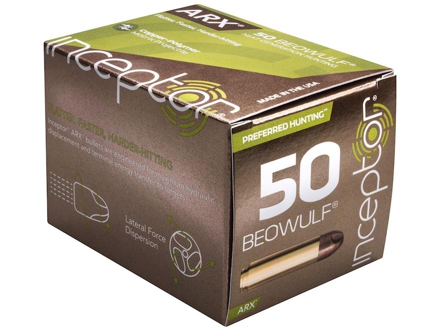 Inceptor Preferred Hunting Ammunition 50 Beowulf 200 Grain ARX Frangible Lead-Free Box ...