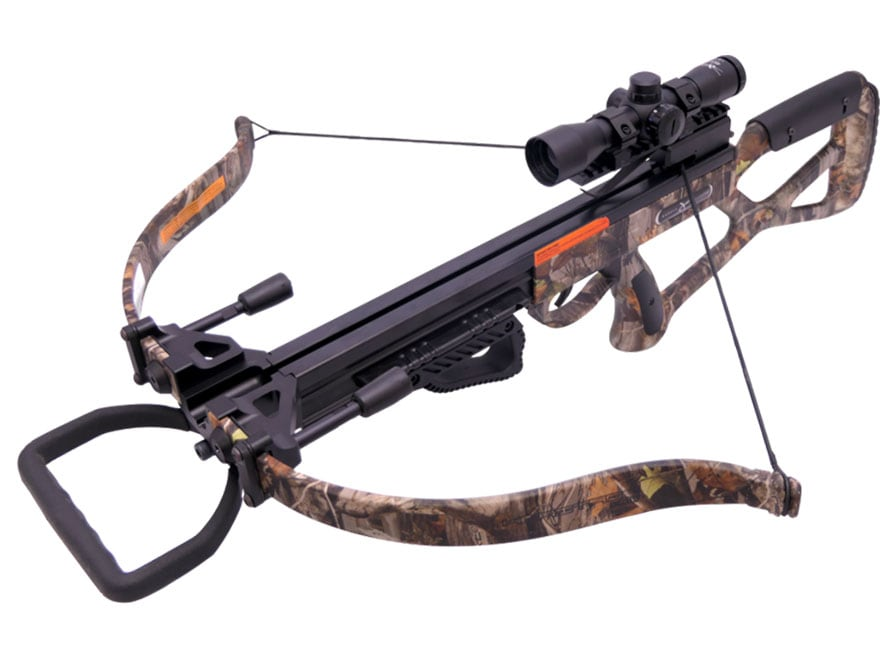 Carbon Express Heritage Recurve Crossbow Package with Illuminated 4x32 Scope Camo