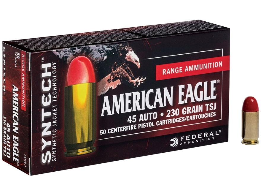 Federal American Eagle Syntech Ammunition 45 ACP 230 Grain Total Synthetic Jacket