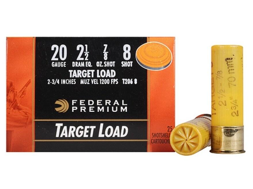 """Federal Premium Gold Medal Ammunition 20 Gauge 2-3/4"""" 7/8 oz #8 Shot"""
