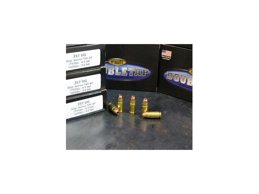 DoubleTap Ammunition 357 Sig 80 Grain Barnes TAC-XP Hollow Point Lead-Free Box of 20
