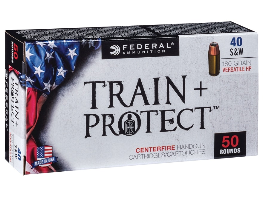 Federal Train + Protect Ammunition 40 S&W 180 Grain Versatile Hollow Point Box of 50