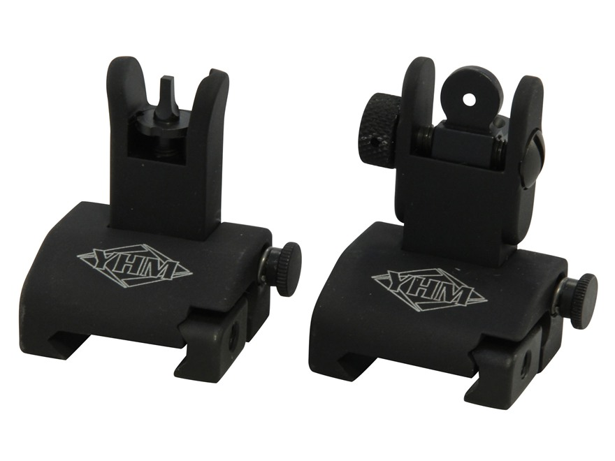 Yankee Hill Machine QDS Quick Deploy Flip up Front and Rear Sight Set Standard AR-15 Fl...
