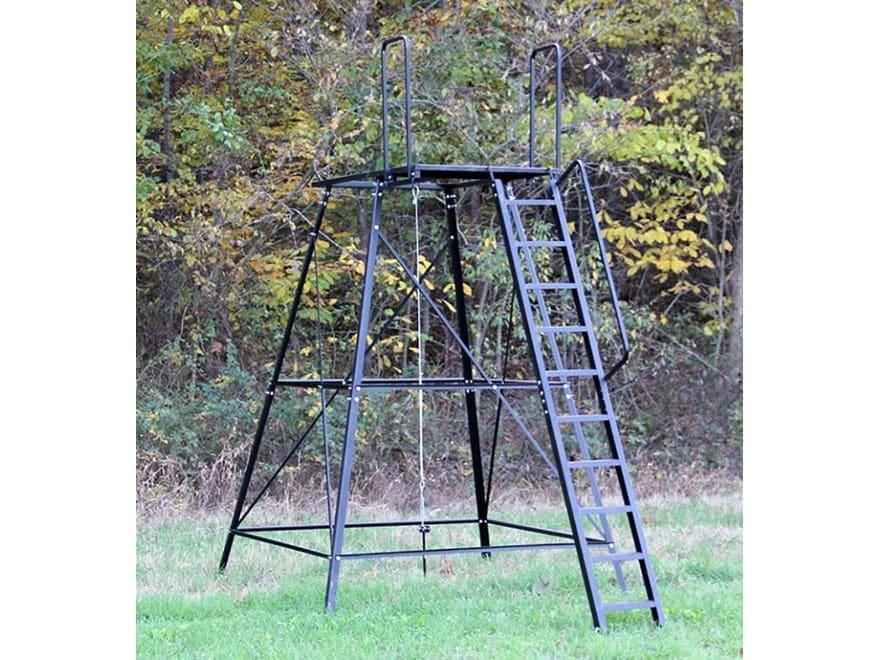 Redneck blinds 10 39 elevated blind platform steel mpn rd for Deer stand steps