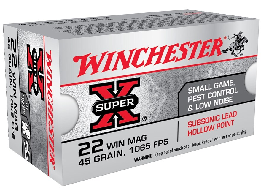 Winchester Super-X Ammunition 22 Winchester Magnum Rimfire (WMR) Subsonic 45 Grain Jack...