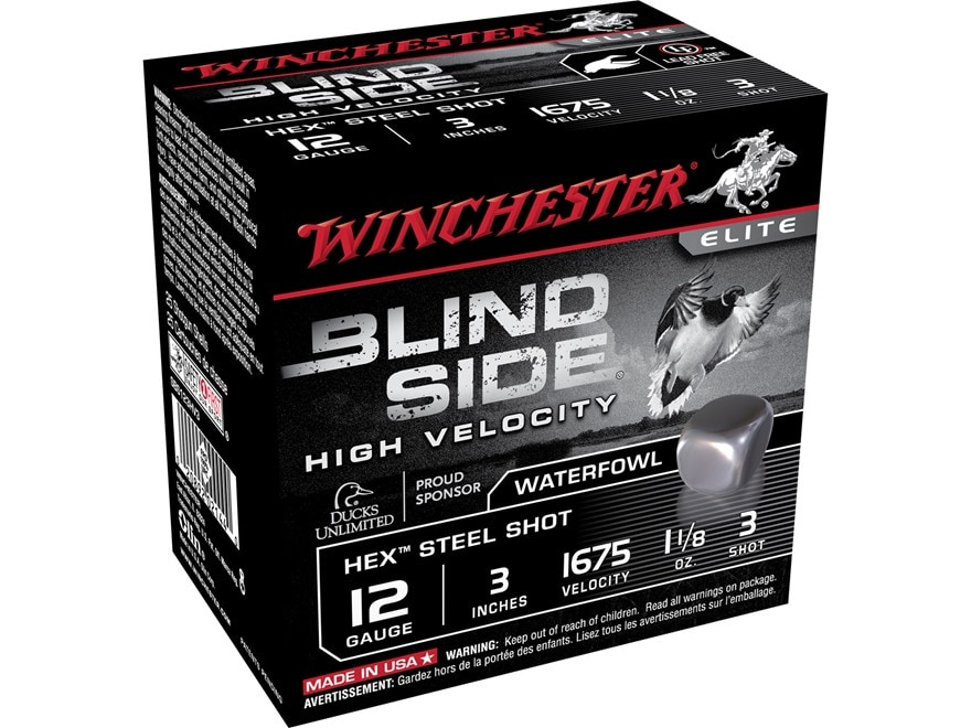 """Winchester Blind Side High Velocity Ammunition 12 Gauge 3"""" 1-1/8 oz #3 Non-Toxic Steel ..."""