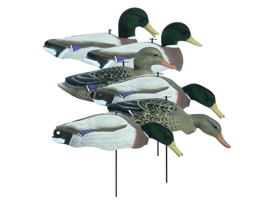 Higdon Magnum Full Form Flocked Head Mallard Shell Duck Decoy Polymer Pack of 6