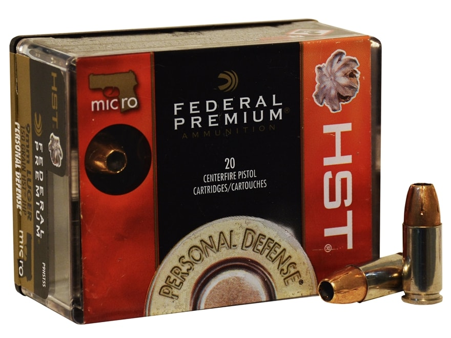 Federal Premium Personal Defense Micro Ammunition 9mm Luger 150 Grain HST Jacketed Holl...