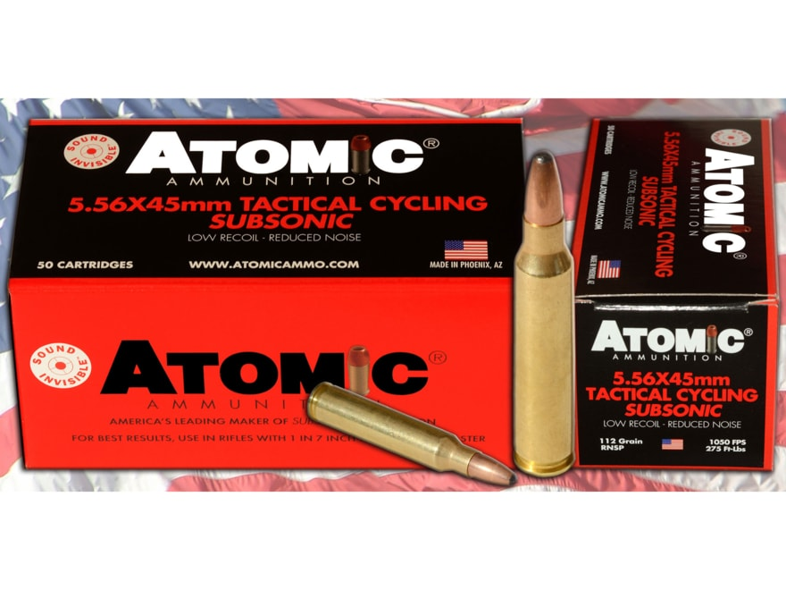 Atomic Tactical Cycling Subsonic Ammunition 5.56x45mm NATO 112 Grain Expanding Round No...