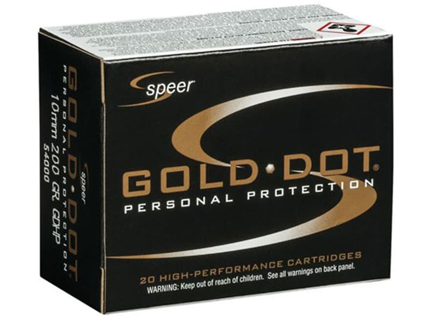 Speer Gold Dot Ammunition 10mm Auto 200 Grain Jacketed Hollow Point Box of 20