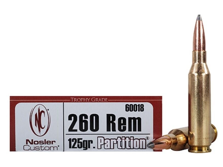 Nosler Trophy Grade Ammunition 260 Remington 125 Grain Partition Spitzer Box of 20