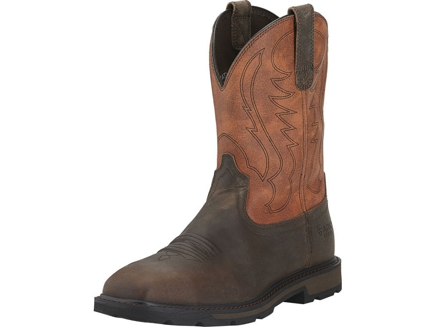 "Ariat Groundbreaker 10"" Pull-On Square Steel Toe Work Boots Leather Brown/Ember Men's"