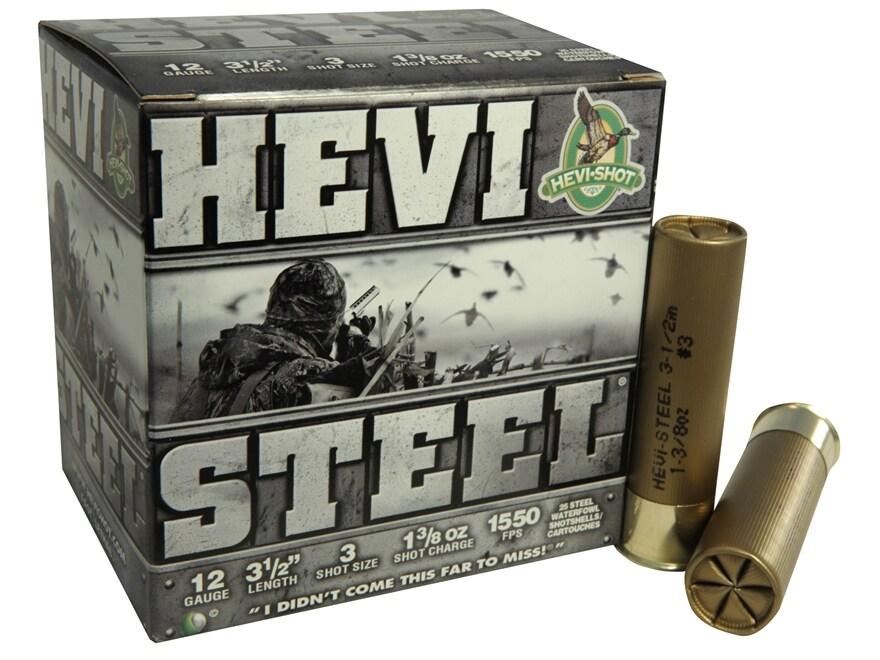"Hevi-Shot Hevi-Steel Waterfowl Ammunition 12 Gauge 3-1/2"" 1-3/8 oz #3 Non-Toxic Shot"