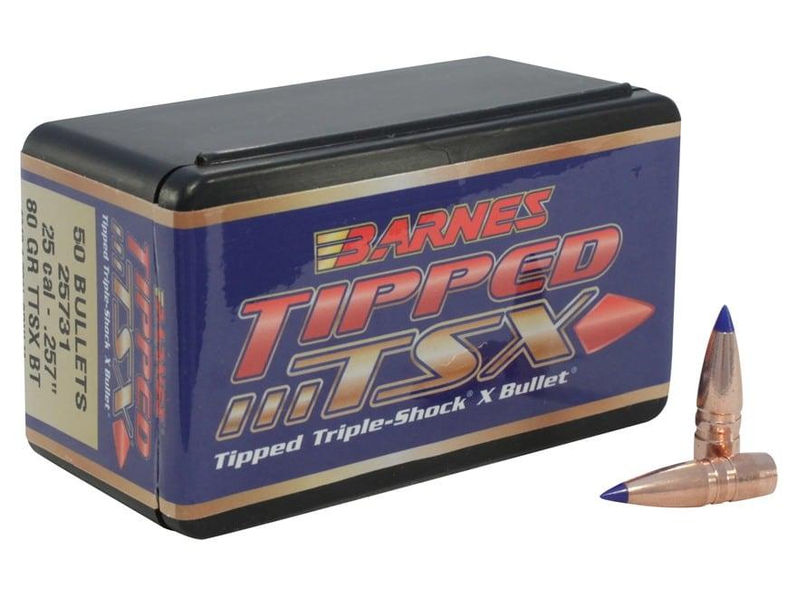 Barnes Tipped Triple-Shock X (TTSX) Bullets 25 Caliber (257 Diameter) 80 Grain Spitzer ...