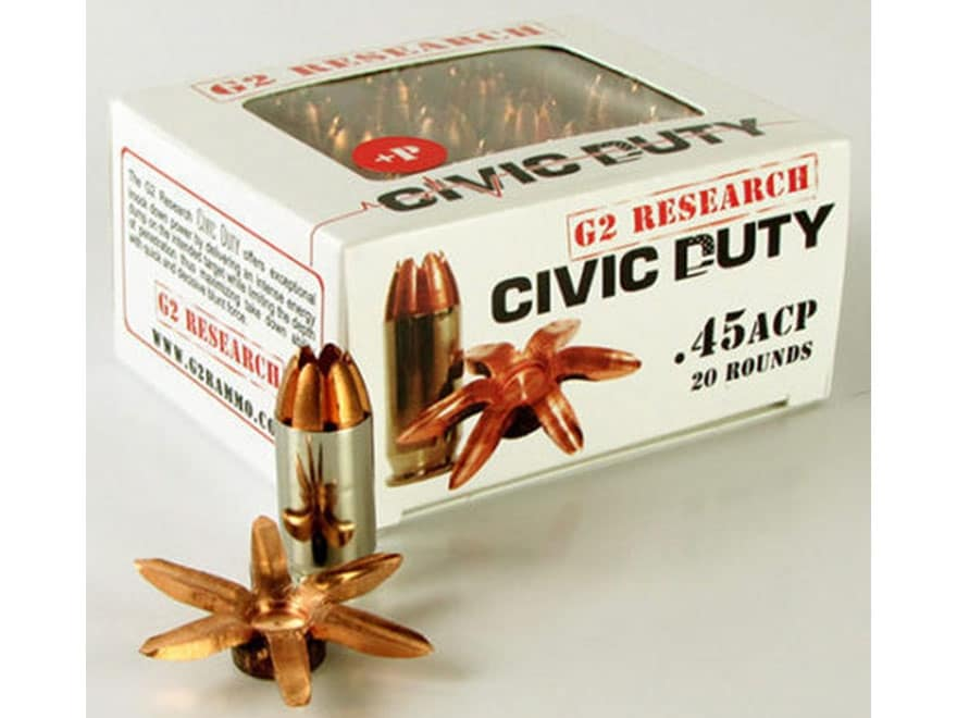 G2 Research Civic Duty Ammunition 45 ACP 164 Grain Expanding Solid Copper Lead-Free Box...