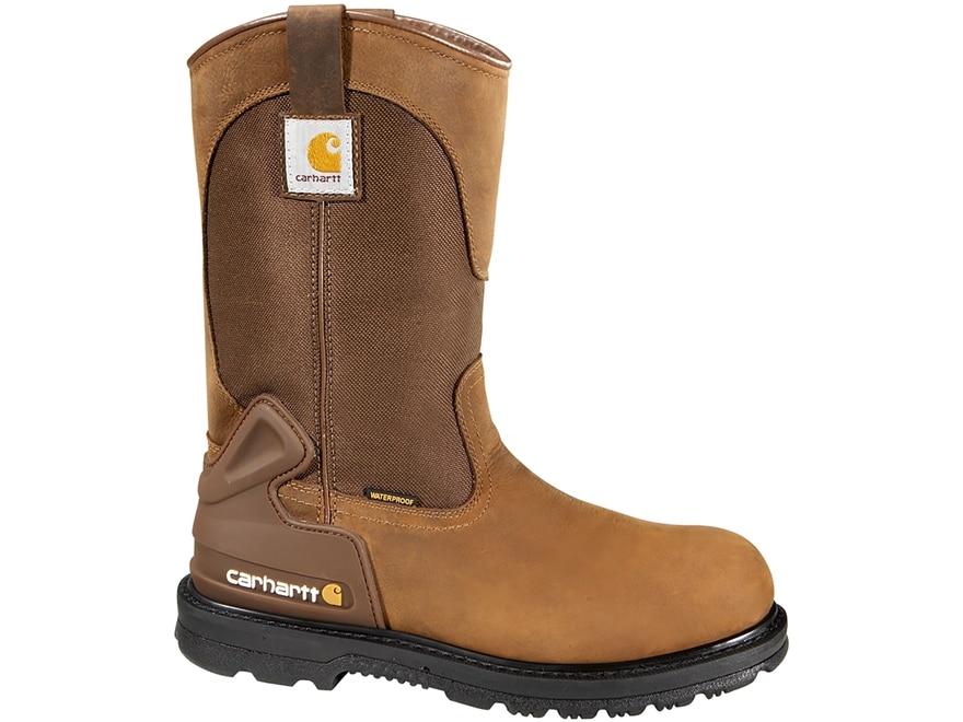 "Carhartt 11"" Wellington Waterproof Safety Toe Work Boots Leather Bison Brown Men's"